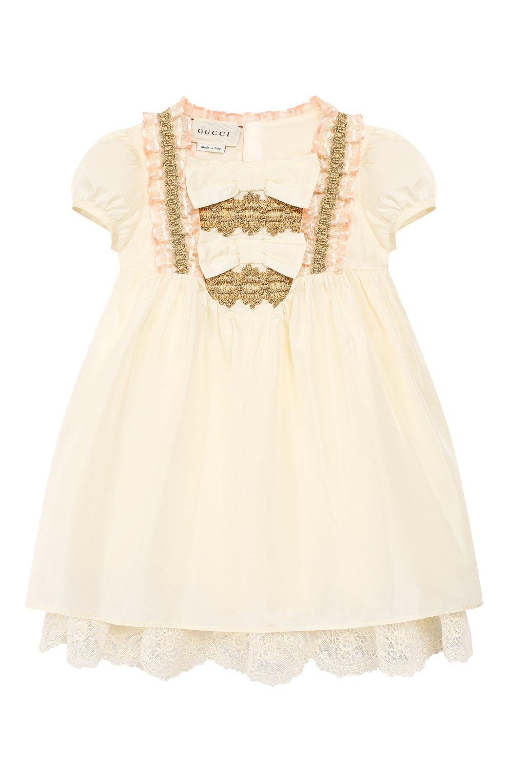 Женский шелковое платье GUCCI бежевого цвета, арт. 586148/ZB644   Фото 1