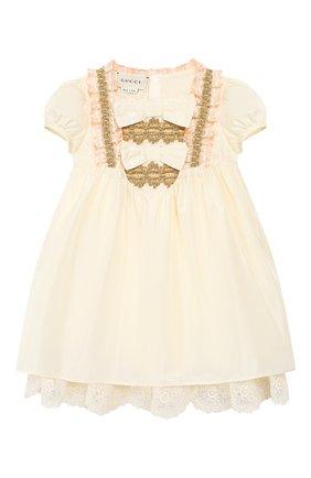 Женский шелковое платье GUCCI бежевого цвета, арт. 586148/ZB644 | Фото 1