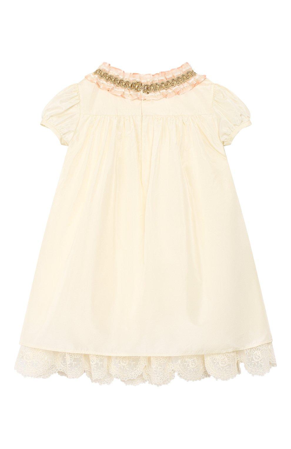 Женский шелковое платье GUCCI бежевого цвета, арт. 586148/ZB644   Фото 2