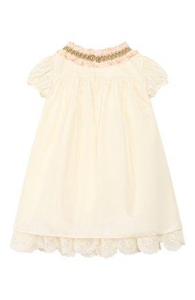 Женский шелковое платье GUCCI бежевого цвета, арт. 586148/ZB644 | Фото 2