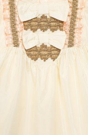 Женский шелковое платье GUCCI бежевого цвета, арт. 586148/ZB644   Фото 3