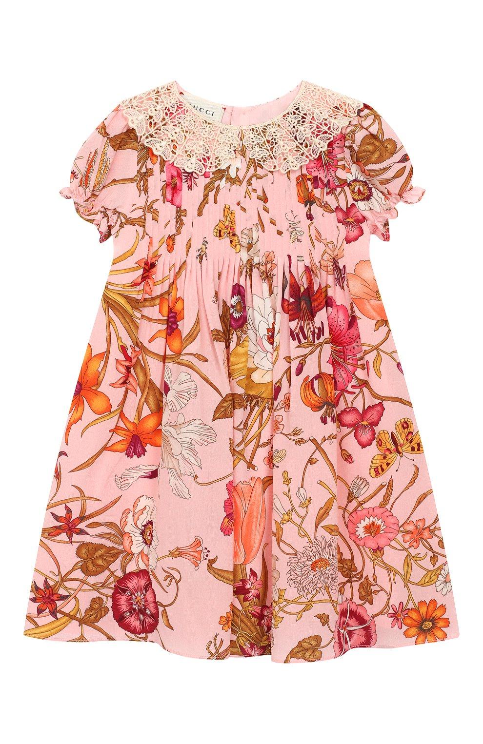 Женский шелковое платье GUCCI розового цвета, арт. 578824/ZACBU | Фото 1