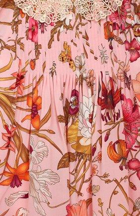 Женский шелковое платье GUCCI розового цвета, арт. 578824/ZACBU | Фото 3