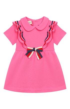 Женский хлопковое платье GUCCI фуксия цвета, арт. 571864/XJBE7 | Фото 1