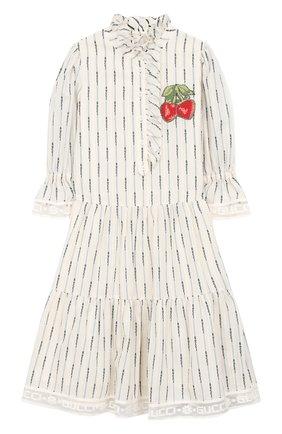 Детское хлопковое платье GUCCI белого цвета, арт. 570929/ZAB8H | Фото 1