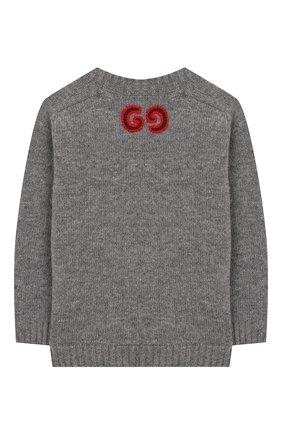 Детский шерстяной пуловер GUCCI серого цвета, арт. 569602/XKAP0 | Фото 2