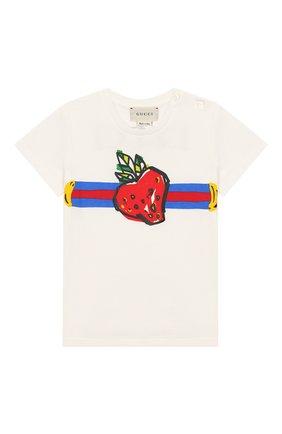 Детский хлопковая футболка GUCCI белого цвета, арт. 555675/XJBJD | Фото 1