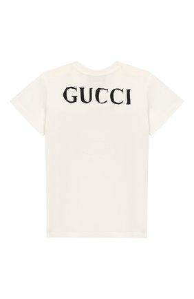 Детский хлопковая футболка GUCCI белого цвета, арт. 555675/XJBJD | Фото 2