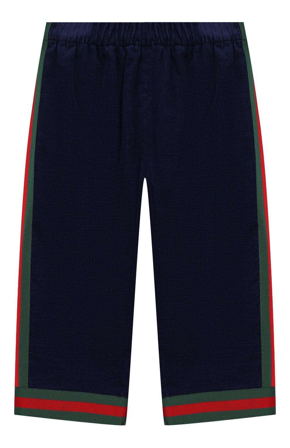 Детские хлопковые брюки GUCCI синего цвета, арт. 542994/ZABWX   Фото 1