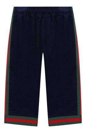 Детские хлопковые брюки GUCCI синего цвета, арт. 542994/ZABWX | Фото 1