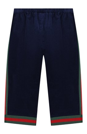 Детские хлопковые брюки GUCCI синего цвета, арт. 542994/ZABWX | Фото 2
