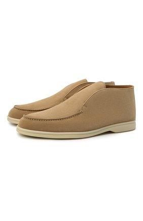 Мужские замшевые ботинки open walk LORO PIANA бежевого цвета, арт. FAB4368 | Фото 1