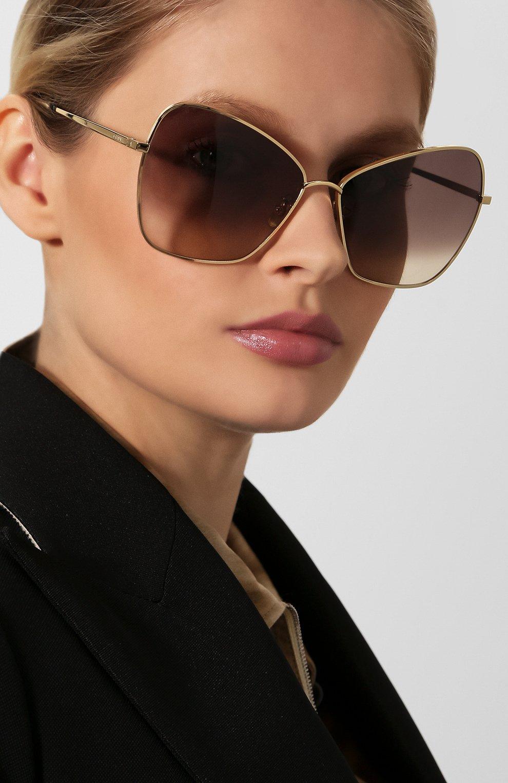 Женские солнцезащитные очки CELINE EYEWEAR золотого цвета, арт. CL40080U 30F | Фото 2