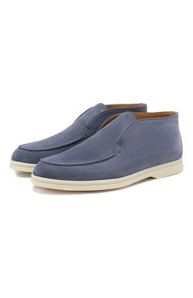 Женские замшевые ботинки open walk LORO PIANA синего цвета, арт. FAE9959 | Фото 1
