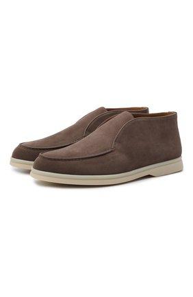 Женские замшевые ботинки open walk LORO PIANA темно-коричневого цвета, арт. FAE9959 | Фото 1