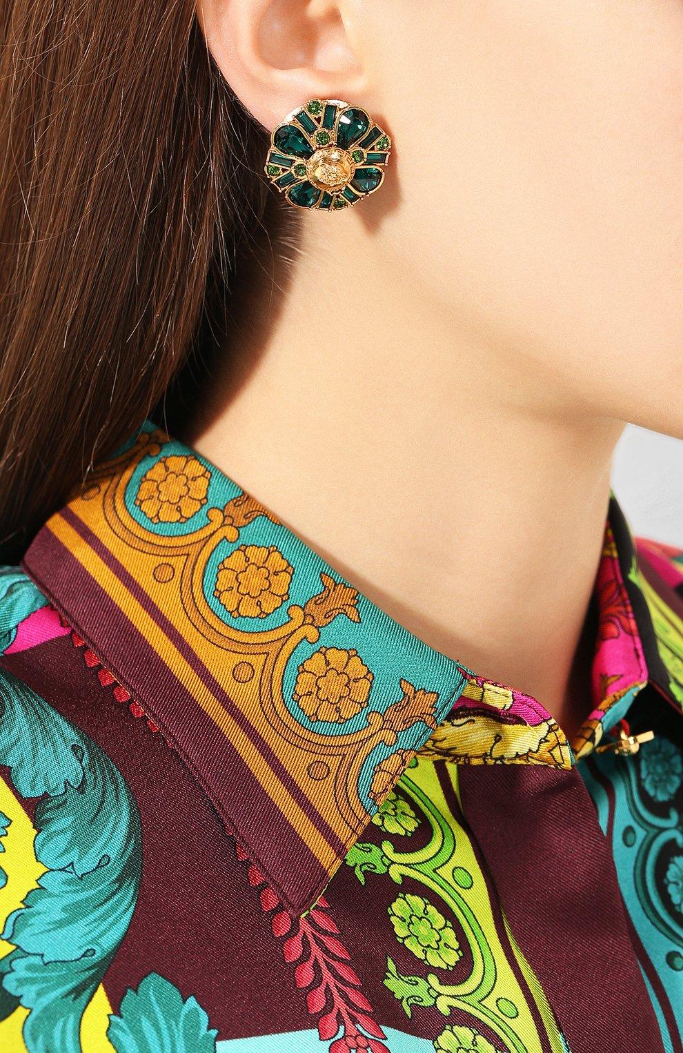 Женские серьги-клипсы tribute VERSACE зеленого цвета, арт. DG2H072/DJMX | Фото 2