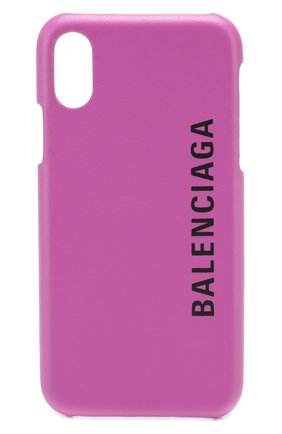 Мужской кожаный чехол для iphone x/xs BALENCIAGA фуксия цвета, арт. 585828/0K1X0 | Фото 1