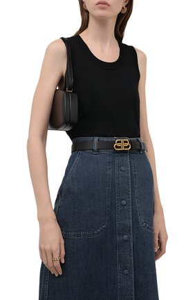 Женский кожаный ремень BALENCIAGA черного цвета, арт. 581690/1CH04 | Фото 2 (Статус проверки: Проверена категория)