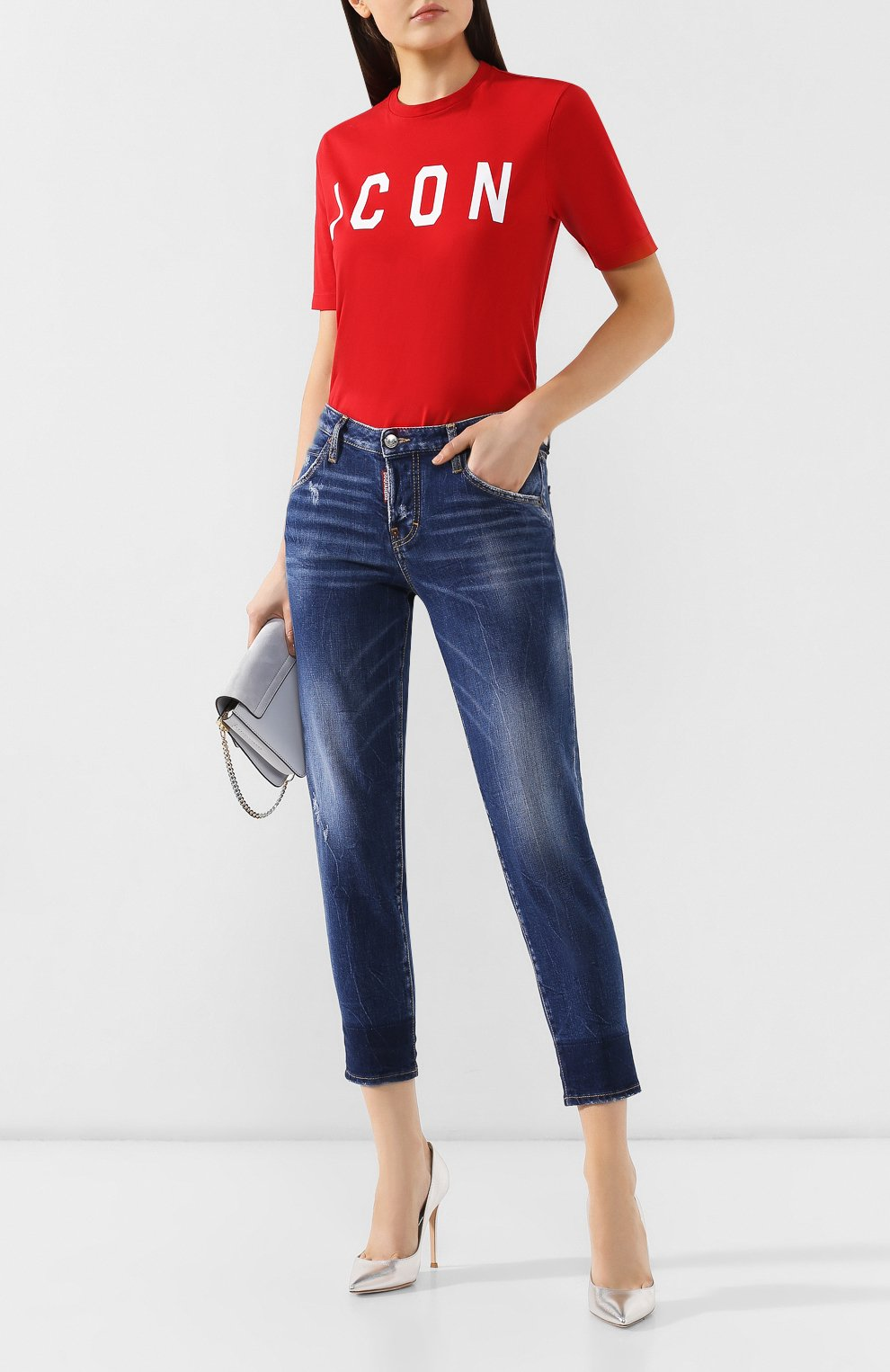 Женские джинсы DSQUARED2 синего цвета, арт. S72LB0214/S30663 | Фото 2