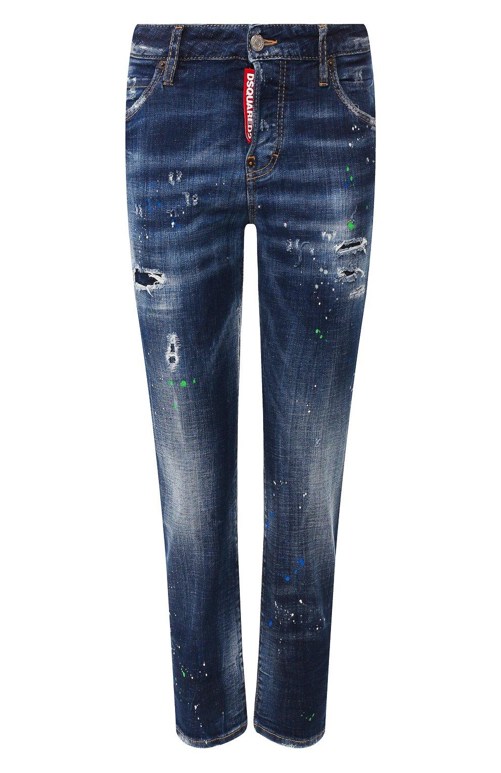 Женские джинсы с потертостями DSQUARED2 синего цвета, арт. S72LB0209/S30342 | Фото 1