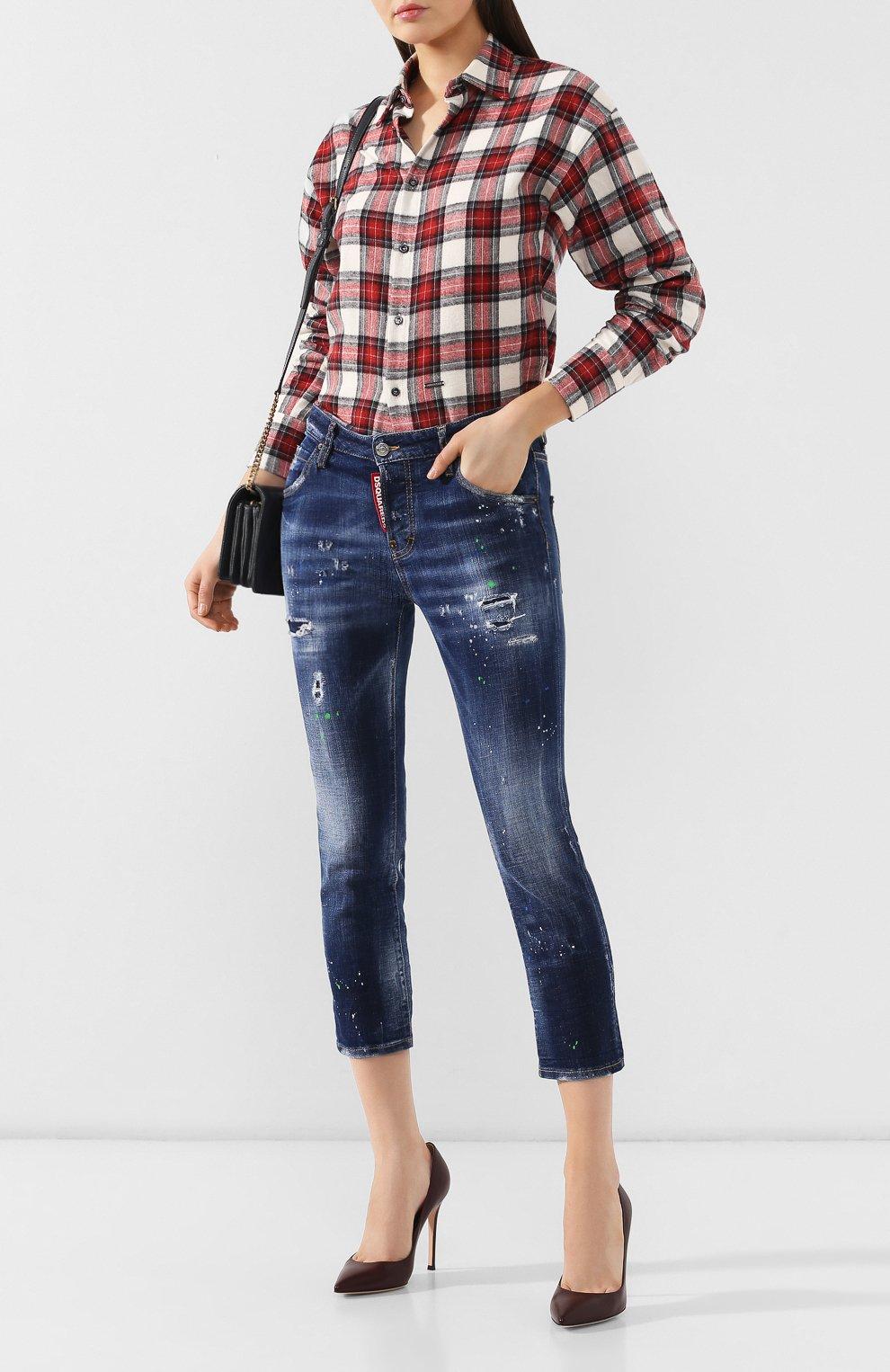 Женские джинсы с потертостями DSQUARED2 синего цвета, арт. S72LB0209/S30342 | Фото 2