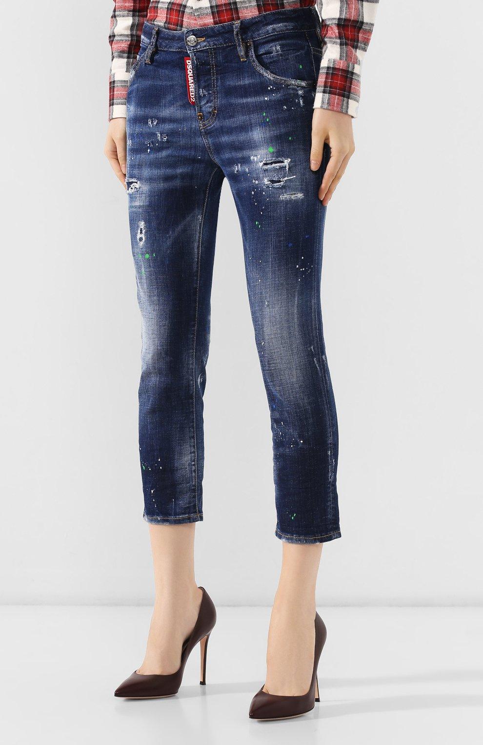 Женские джинсы с потертостями DSQUARED2 синего цвета, арт. S72LB0209/S30342 | Фото 3