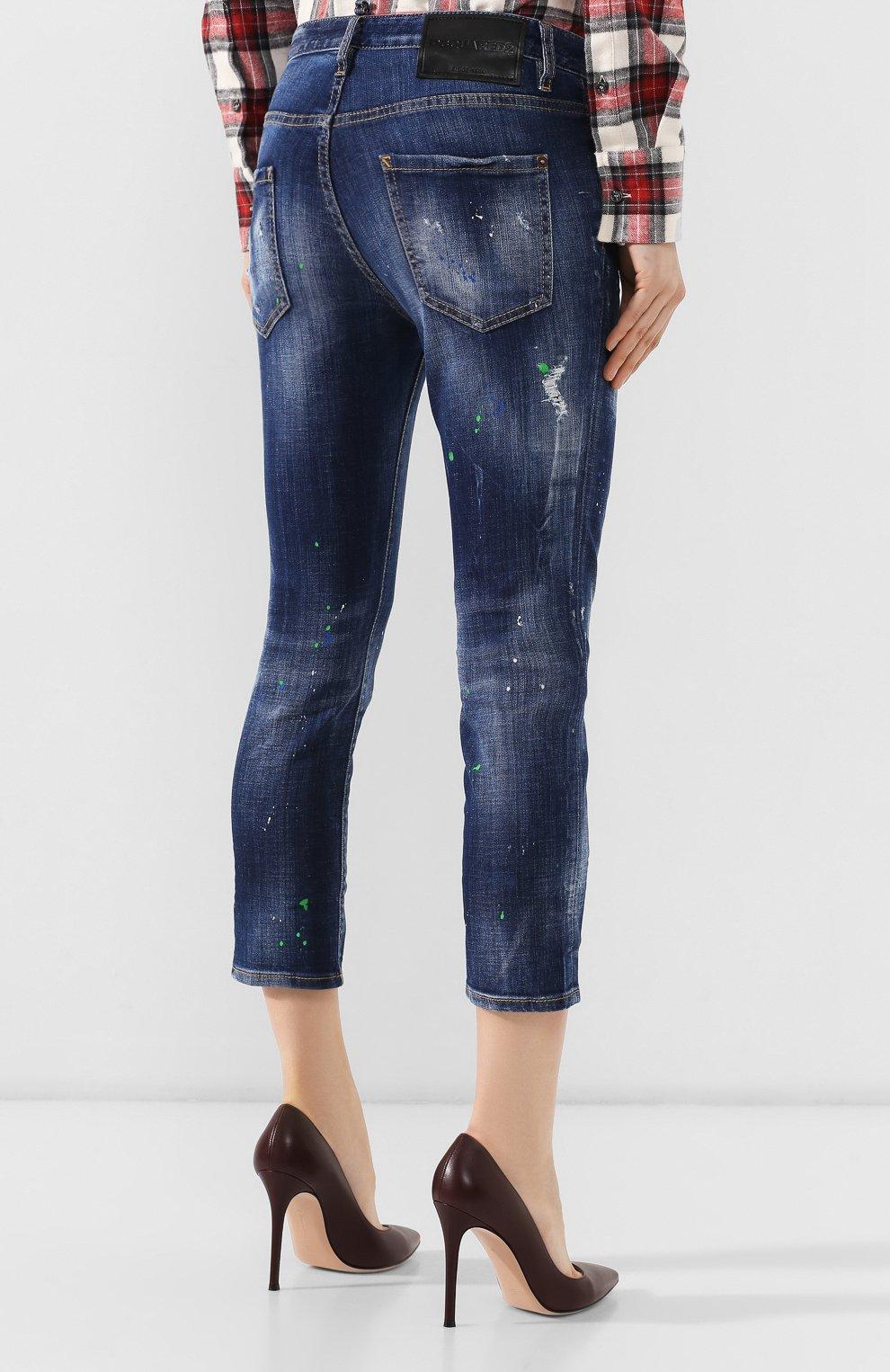 Женские джинсы с потертостями DSQUARED2 синего цвета, арт. S72LB0209/S30342 | Фото 4