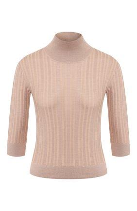 Женский пуловер из смеси кашемира и шелка LORO PIANA светло-розового цвета, арт. FAI7537   Фото 1
