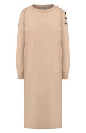 Женское платье из смеси шерсти и шелка STELLA MCCARTNEY бежевого цвета, арт. 269330/S2087   Фото 1