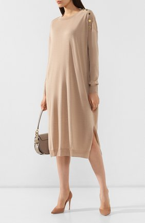 Женское платье из смеси шерсти и шелка STELLA MCCARTNEY бежевого цвета, арт. 269330/S2087   Фото 2