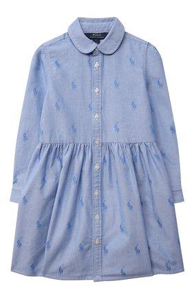 Детское хлопковое платье-рубашка POLO RALPH LAUREN голубого цвета, арт. 312756657 | Фото 1