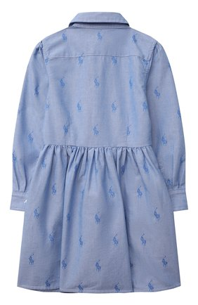 Детское хлопковое платье-рубашка POLO RALPH LAUREN голубого цвета, арт. 312756657 | Фото 2