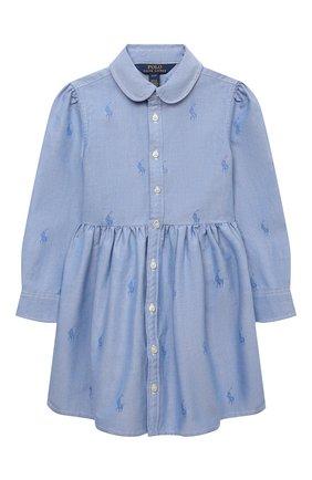 Детское хлопковое платье-рубашка POLO RALPH LAUREN голубого цвета, арт. 311756657 | Фото 1