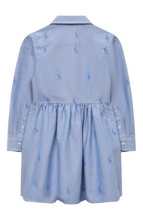 Детское хлопковое платье-рубашка POLO RALPH LAUREN голубого цвета, арт. 311756657 | Фото 2