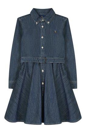 Детское хлопковое платье-рубашка POLO RALPH LAUREN синего цвета, арт. 311698860 | Фото 1