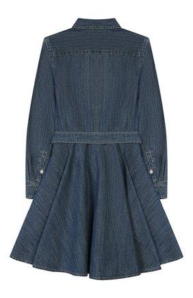 Детское хлопковое платье-рубашка POLO RALPH LAUREN синего цвета, арт. 311698860 | Фото 2