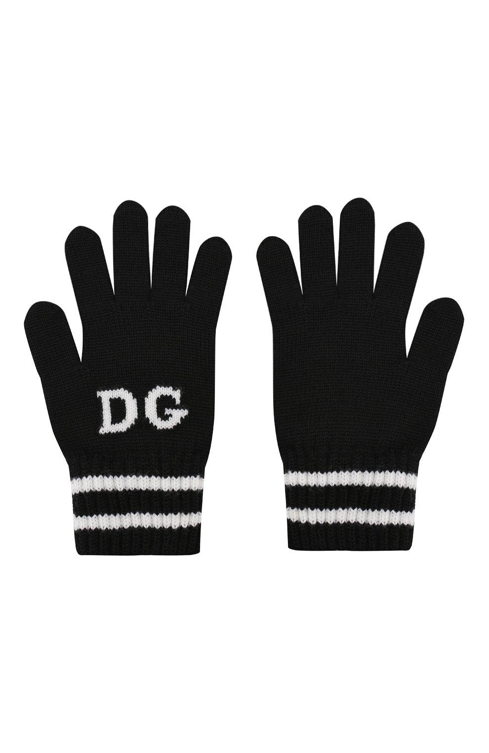 Детские шерстяные перчатки DOLCE & GABBANA черного цвета, арт. LBKA19/JAVPF   Фото 2 (Материал: Шерсть; Статус проверки: Проверена категория)