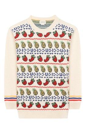 Детский пуловер из шерсти и хлопка GUCCI белого цвета, арт. 577547/XKAUD | Фото 1