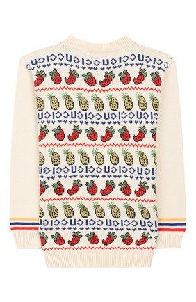 Детский пуловер из шерсти и хлопка GUCCI белого цвета, арт. 577547/XKAUD | Фото 2