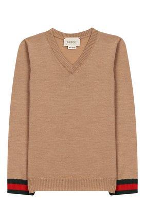 Детский шерстяной пуловер GUCCI бежевого цвета, арт. 418776/X1284 | Фото 1