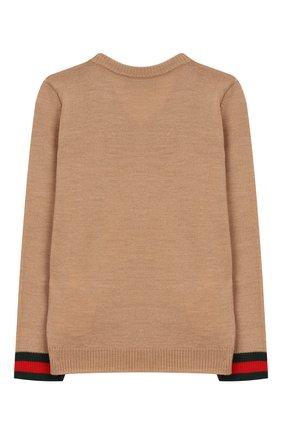 Детский шерстяной пуловер GUCCI бежевого цвета, арт. 418776/X1284 | Фото 2