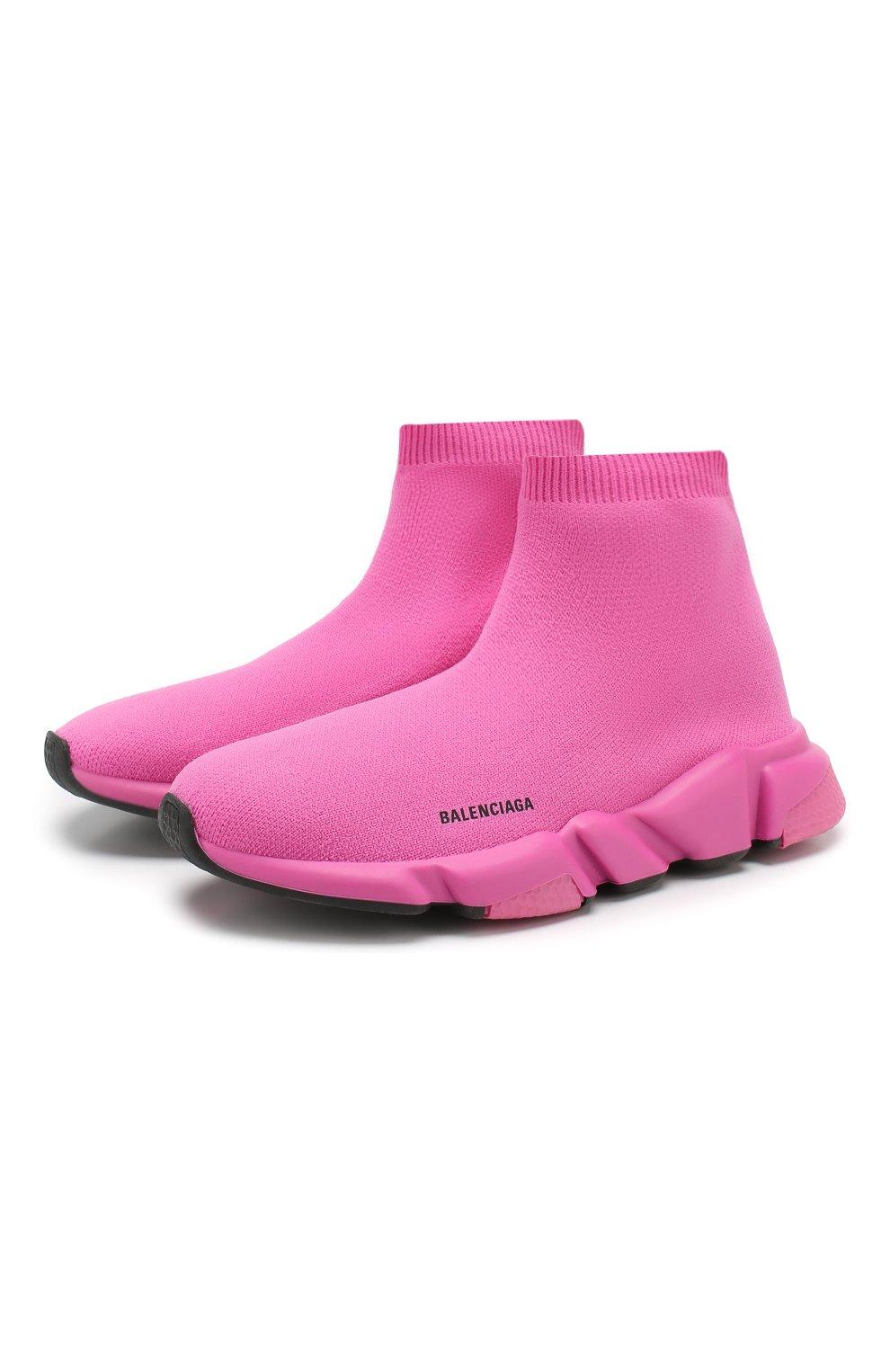 Детские текстильные кроссовки BALENCIAGA розового цвета, арт. 552595/W05G0 | Фото 1