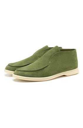 Мужские замшевые ботинки open walk LORO PIANA хаки цвета, арт. FAI4850 | Фото 1