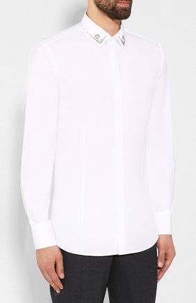Мужская хлопковая рубашка NEIL BARRETT белого цвета, арт. PBCM1236C/M078C | Фото 3