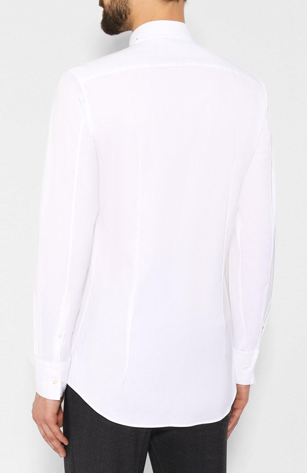 Мужская хлопковая рубашка NEIL BARRETT белого цвета, арт. PBCM1236C/M078C | Фото 4