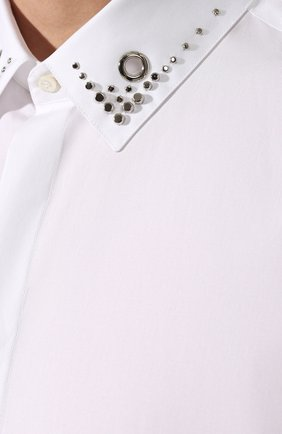 Мужская хлопковая рубашка NEIL BARRETT белого цвета, арт. PBCM1236C/M078C | Фото 5