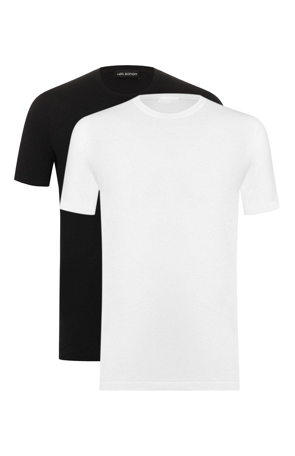 Мужская комплект из хлопковых футболок NEIL BARRETT черно-белого цвета, арт. PBJT588/M554S | Фото 1