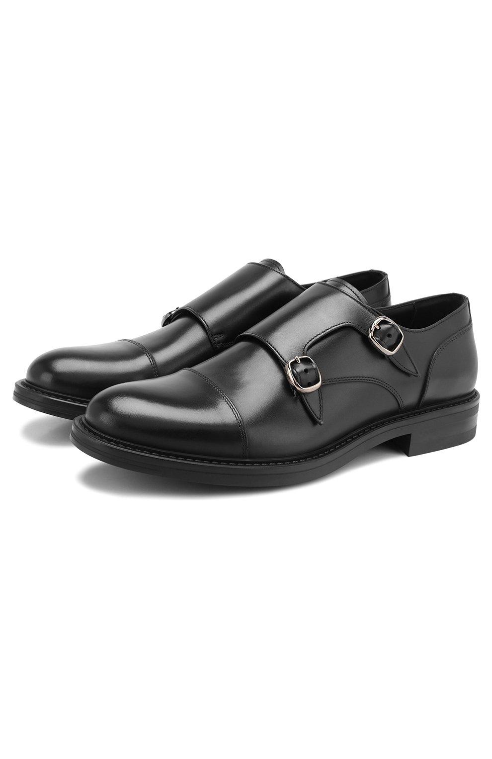 Мужские кожаные монки W.GIBBS черного цвета, арт. 3169013/0214 | Фото 1