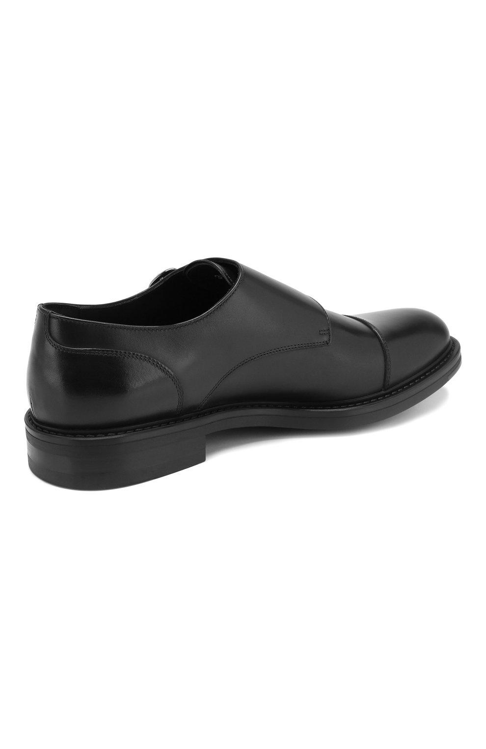 Мужские кожаные монки W.GIBBS черного цвета, арт. 3169013/0214 | Фото 4