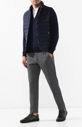 Мужские кожаные кеды SANTONI хаки цвета, арт. MBGL20850MIMRG0TV55   Фото 2